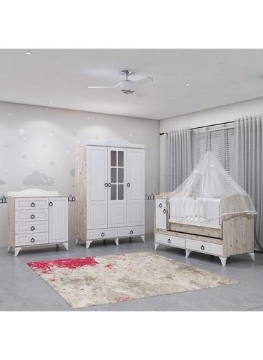 Garaj Home Garaj Home Sude Beyaz Membran Country Asansörlü Bebek Odası Takımı - Yatak Ve Uyku Seti Kombinli/ Uyku Seti Pembe Pembe
